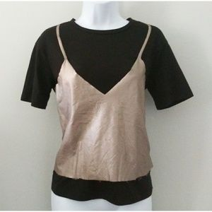 Zara Black Layered Metallic Top